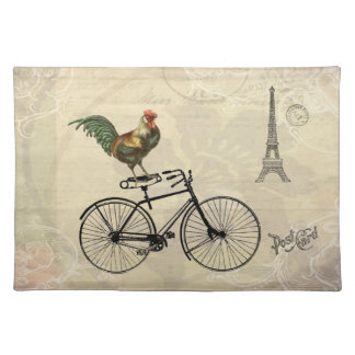 Vintage Rooster Riding a Bike by the Eiffel Tower Placemats