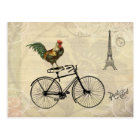 Vintage Rooster Riding a Bike by the Eiffel Tower Postcard