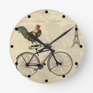 Vintage Rooster Riding a Bike by the Eiffel Tower Round Clock