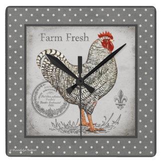 Vintage Rooster wall clock in greys & creams