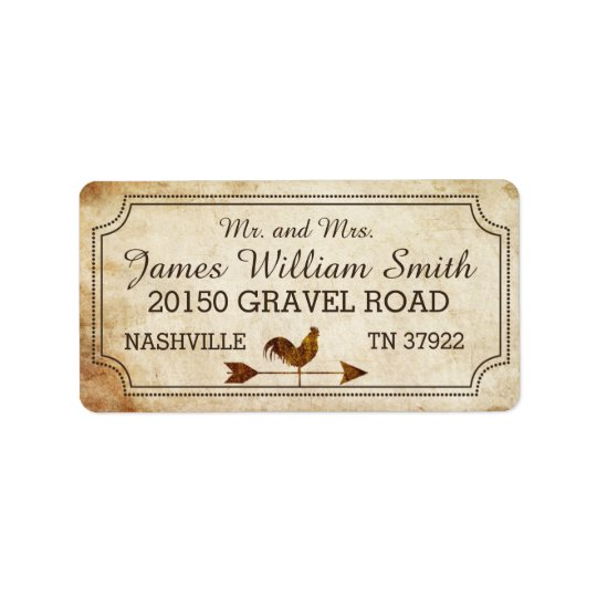 Vintage Rooster Weather Vane Rustic Wedding Label Address Label