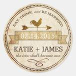 Vintage Rooster Weather Vane Rustic Wedding Label Round Sticker