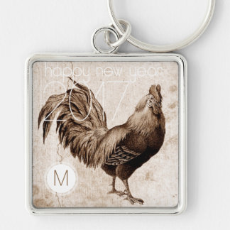 Vintage Rooster Year 2017 Monogram Square Keychain