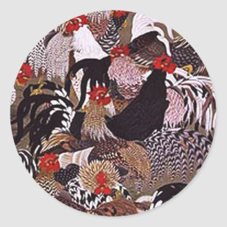 Vintage Roosters Art Classic Round Sticker