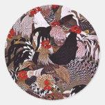 Vintage Roosters Art Sticker