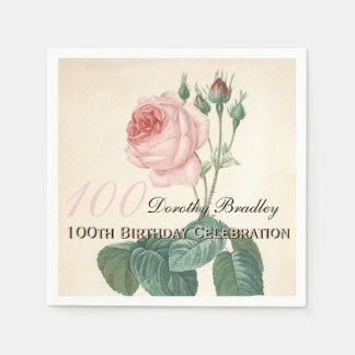 Vintage Rose 100th Birthday Party Paper Napkins Disposable Serviette