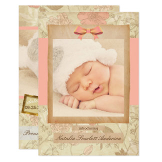 Vintage Rose - 3x5 Birth Announcement