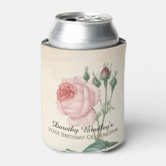 Vintage Rose 70th Birthday Celebration Can Cooler