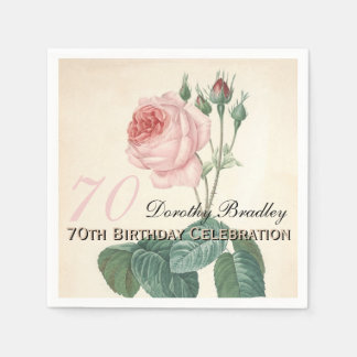 Vintage Rose 70th Birthday Party Paper Napkins Disposable Serviette