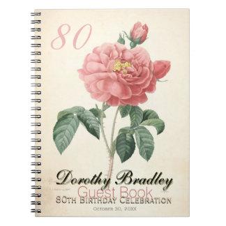 Vintage Rose 80th Birthday Celebration Guest Book Notebooks