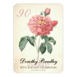 Vintage Rose 90th Birthday Celebration Custom 13 Cm X 18 Cm Invitation Card