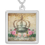 Vintage Rose and Crown Square Necklace