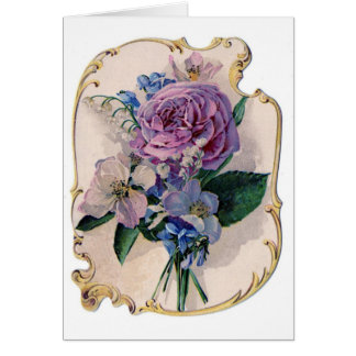 Vintage Rose and Lily of the Valley Greeting Card