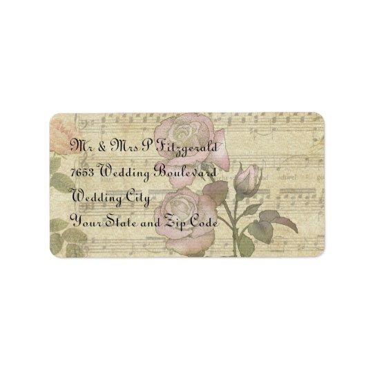 Vintage Rose and music score wedding set Address Label