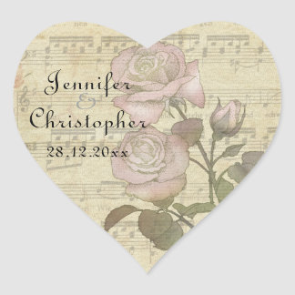 Vintage Rose and music score wedding set Heart Sticker