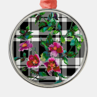 Vintage rose - black and white plaid christmas ornament