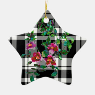 Vintage rose - black and white plaid snow flake christmas ornament