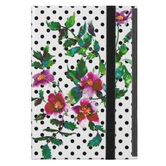 Vintage rose black and white polka-dots iPad mini covers