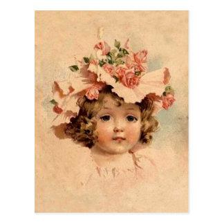 Vintage Rose Bonnet Girl Postcard