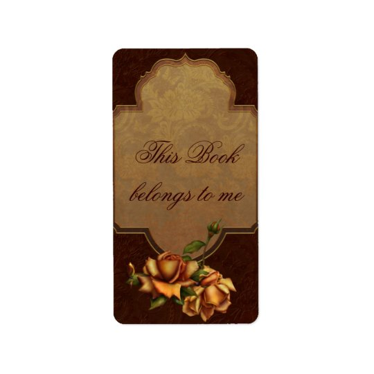 Vintage Rose Bookplate Label
