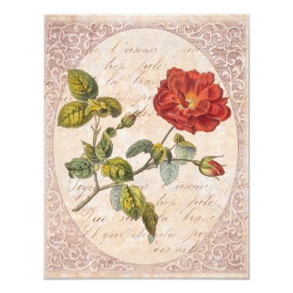 Vintage Rose Botanical Birthday Garden Party 11 Cm X 14 Cm Invitation Card