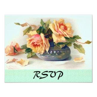 Vintage Rose Bouquet Fine Art RSVP Card 11 Cm X 14 Cm Invitation Card