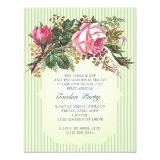 Vintage Rose Bouquet Garden Party Card