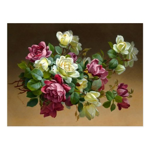 Vintage Rose Bouquet Postcard