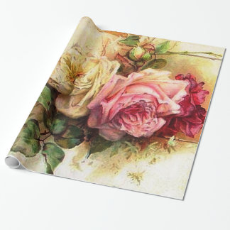Vintage Rose Bouquet Wrapping Paper
