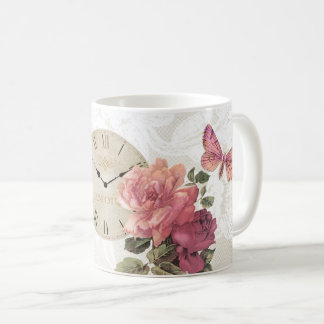 Vintage Rose Butterfly Clock Time Lace Mug