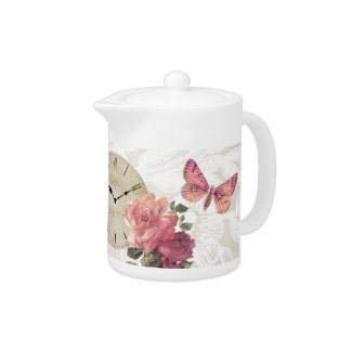 Vintage Rose Butterfly Clock Time Lace Teapot
