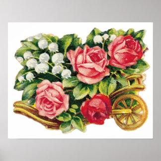 Vintage Rose Cart Poster