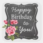 Vintage Rose Chalkboard Birthday Stickers