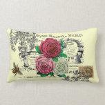 Vintage Rose Collage Throw Pillow