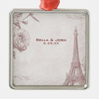 Vintage Rose Color Eiffel Tower Wedding Ornament