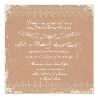 Vintage rose damask wedding invitation