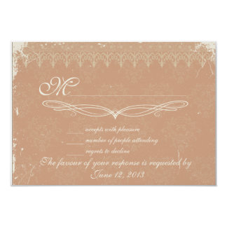 Vintage rose damask wedding RSVP Personalized Announcement