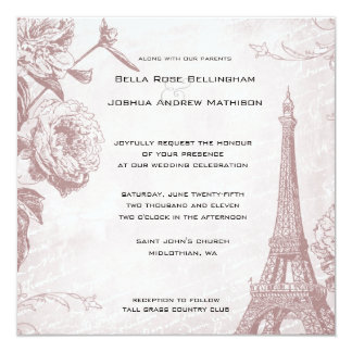 Vintage Rose Eiffel Tower Wedding Invitation