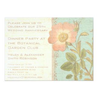 Vintage Rose Elegant 25th Anniversary Dinner 13 Cm X 18 Cm Invitation Card