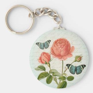 Vintage rose floral butterfly elegant keychain