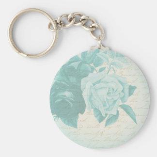 Vintage rose floral elegant blue keychain