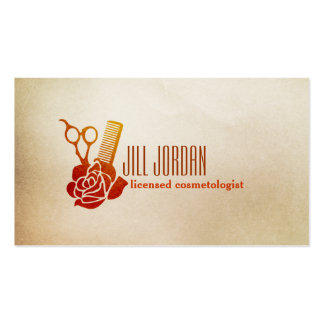 vintage rose floral hairstylist hair stylist comb business card template