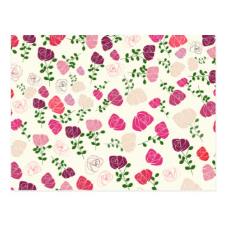 Vintage rose floral pattern postcard