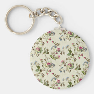 Vintage Rose Floral Pattern Shabby chic Keychains