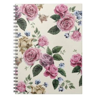 Vintage Rose Floral Pink And Lavender Flowers Spiral Notebook