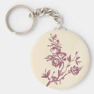 Vintage Rose Floral Pink & Burgandy Key Chain