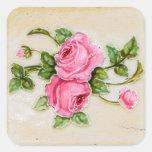 Vintage Rose Floral Tile Square Stickers