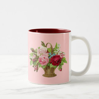 Vintage Rose Flower Basket Coffee Mugs