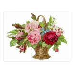 Vintage Rose Flower Basket Post Card