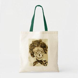 vintage rose flower head dress sugar skull bag